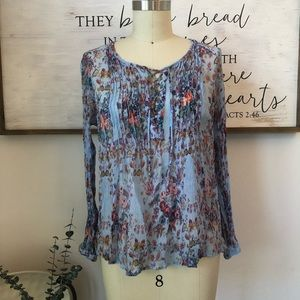 Lucky Brand Beautiful Floral Lace Up Top L